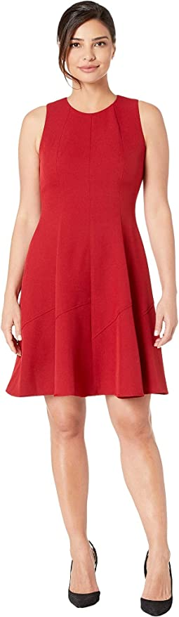Crepe Seamed Fit & Flare Dress