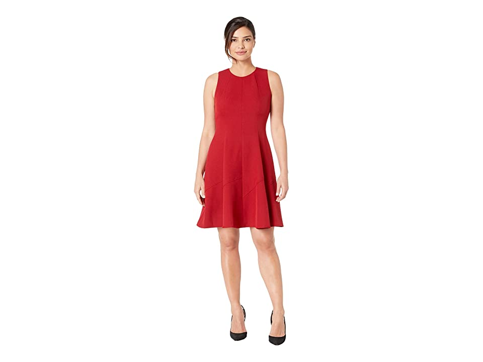 Anne Klein Crepe Seamed Fit Flare Dress (Titian Red/Dark Titian Red) Women