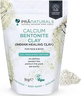PraNaturals Bentonite Clay Mask, Natural Deep Skin Pore Cleansing Montmorillonite Calcium Active Pure Clay Mask Powder, Detox Anti-Ageing and Healing Facial Beauty Mask (1KG Bag)