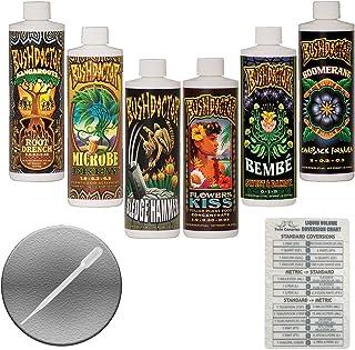 FoxFarm BushDoctor Liquid Nutrient Formula: Kangaroots, Microbe Brew, Sledgehammer, Flowers Kiss, Bembe, Boomerang (Pack of 6-16 oz Bottles) 1 Pint Each + Twin Canaries Chart & Pipette