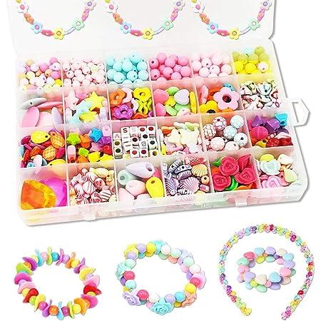 DIYビーズ おもちゃ 女の子 24種類 アクセサリー ハンドメイド ラブリービーズ 子供のお誕生日 プレゼント 約540個