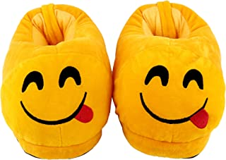 Qualtos Yellow Smiley Warm Shoes Emoji Bedroom Slipper Free Size Indoor Slipper Funny Soft Plush for Adults Kids Teens Bedroom Smiley Poop Socks Womens Girls Non-Skid Footpads