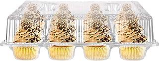 Stock Your Home 12個のハイコンパートメントカップケーキコンテナ (4個) - クリアプラスチックカップケーキ容器 背の高い蓋付き 追加のトッピングやフロスティングに - ヒンジロックカップケーキクラムシェル - カップケーキス...