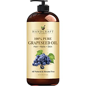 Handcraft Pure Grapeseed Oil - 100% Pure and Natural - Premium Therapeutic Grade Carrier Oil for Aromatherapy, Massage, Moisturizing Skin and Hair Huge - 16 fl. oz - Packaging May Vary