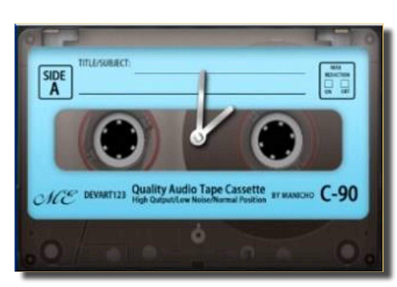 写真撮影間欠イサカ丸和貿易 置き時計 おしゃれ アナログ 80'Sクロック カセットテープ ブルー