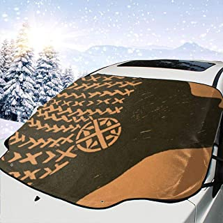Afriacn Black Woman Car Windshield Snow Cover, Waterproof Frost Guard Winter Windshield Snow Ice Cover with Side Mirror Covers, Windproof Summer Windshield Sun Shade Fits Most Cars, SUVs, Minivans 58