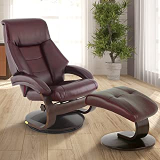 Comfort Chair 6002 Oslo Collection by Mac Motion Mandal Recliner and Ottoman Top Grain Leather, Merlot/Alpine