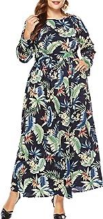 Eternatastic Women's Maxi Dress Floral Printed Long Sleeve Plus Size Dress
