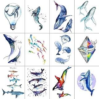 WYUEN 12 PCS/lot Whale Shark Temporary Tattoo Sticker for Women Men Fake Tatoo Body Art Adult Waterproof Stickers 9.8X6cm W12-06