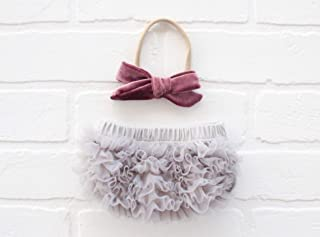 Ruffle Bloomer & Velvet Bow Infant Headband Set, Newborn Baby Girl, Gray & Dark Mauve