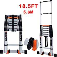 Telescoping Ladder Extension Multi-Purpose 18.5 FT Aluminum Foldable Industrial Compact Loft Ladder Household Daily or Eme...