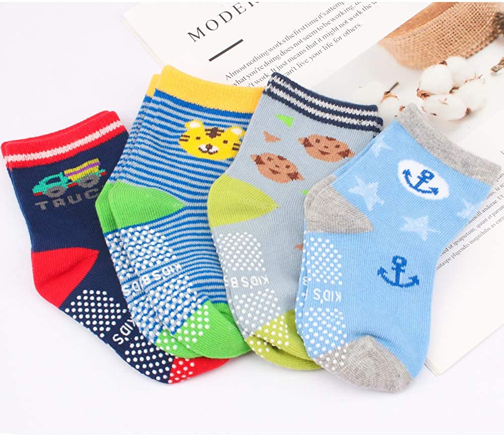 CUBACO Baby Socks with Anti Slip Non Skid Soles Cotton Socks for Toddlers Infants Kids Boys Girls
