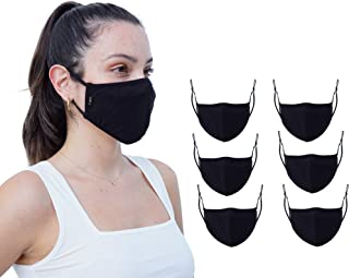 Simlu 6 Pack Premium Fabric Face Mask Reusable with Adjustable Elastic, 2 Layer,Cotton, Breathable, Nose Wire Black Cloth ...