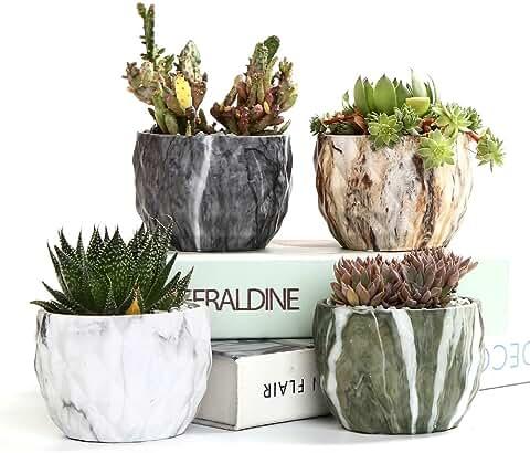 Sun-E Modern Style Marbling Ceramic Flower Pot Succulent/Cactus Planter