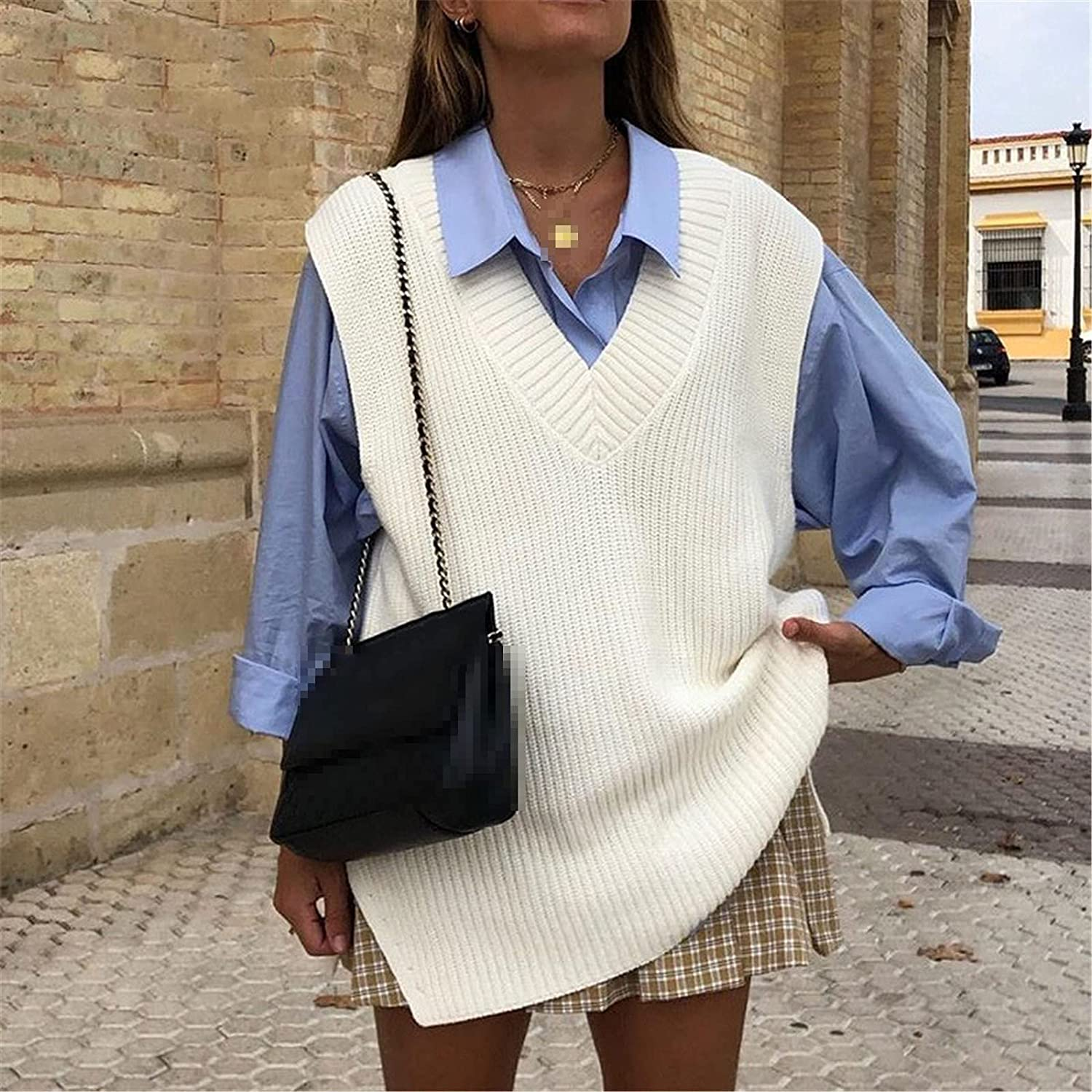 V Neck Sleeve White Knitted Autumn Winter Women Sweater Vests Casual Loose Outwear Solid Sweater Preppy Style Vests