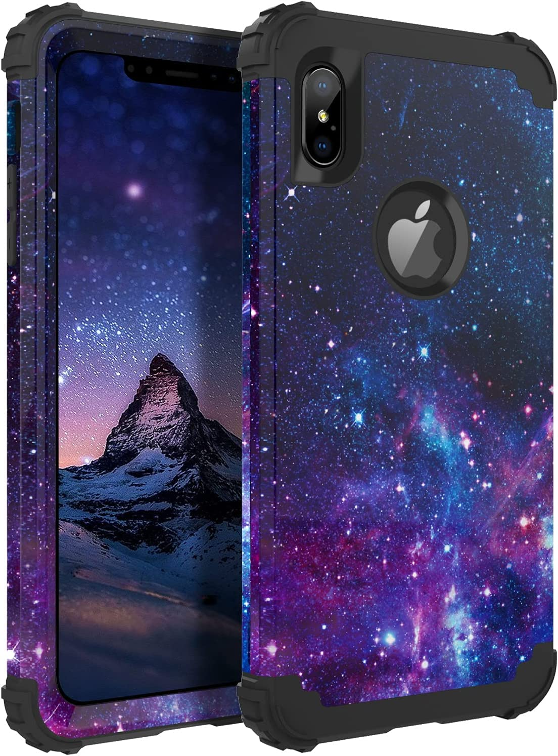 BENTOBEN iPhone Xs Max Case, Heavy Duty Shockproof 3 in 1 Hybrid Hard PC Soft Silicone Bumper Space Galaxy Design Protective Phone Case Cover for iPhone Xs Max 6.5 Inch 2018, Space