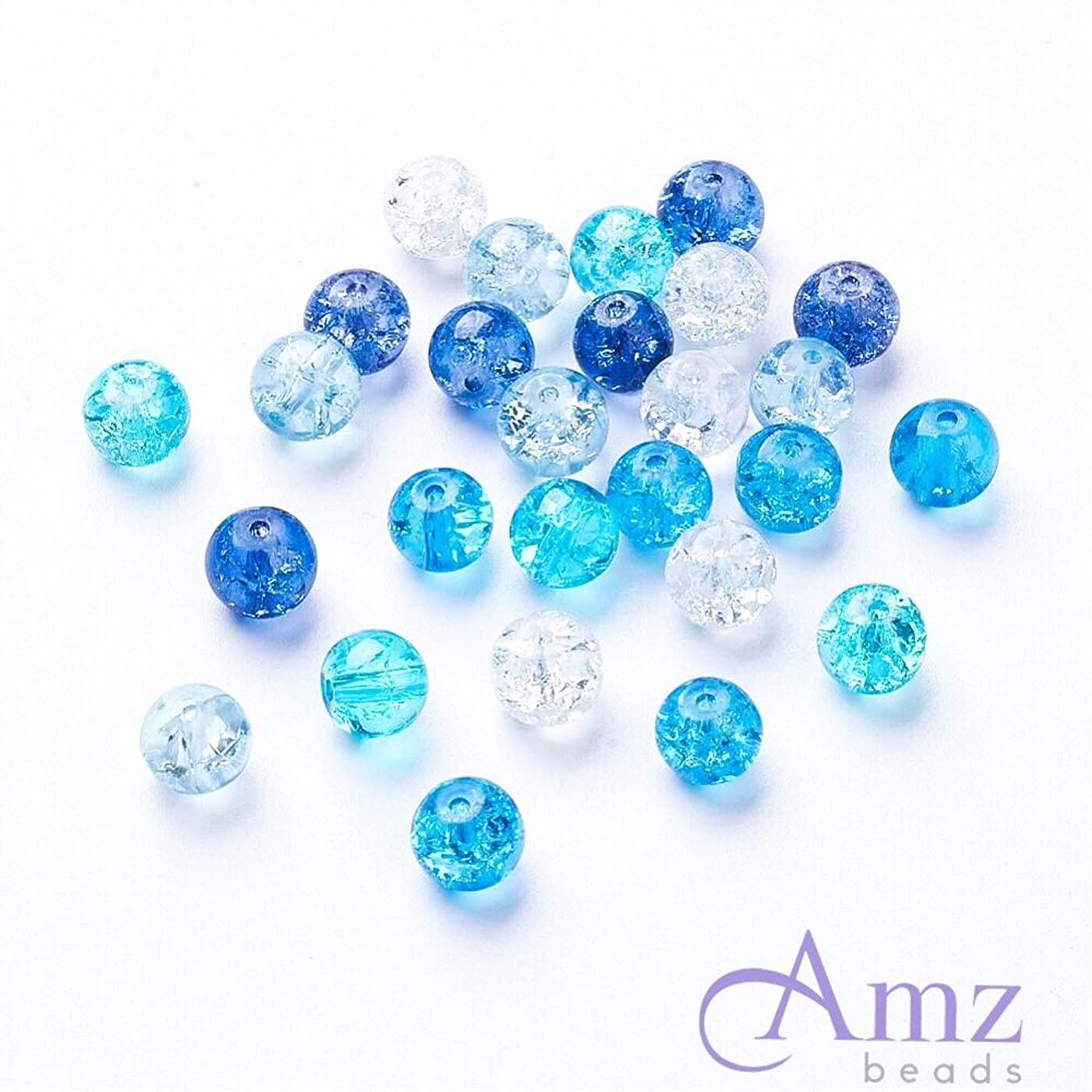 AMZ Beads - 4mm Mixed Assorted Colors Crackle Czech Glass Beads - Pack of 400 beads (Ocean Mix)