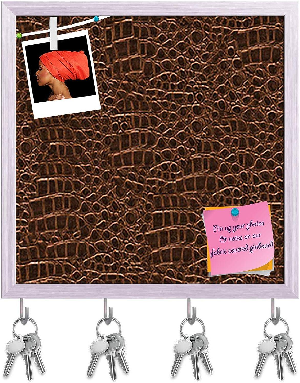 Artzfolio Crocodile Hide D5 Key Holder Hooks   Notice Pin Board   White Frame 12 X 12Inch