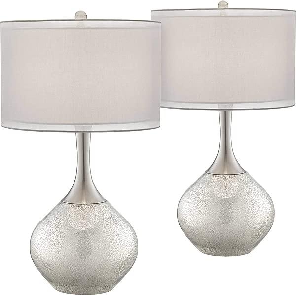 Swift Modern Table Lamps Set Of 2 Mercury Glass Chrome Twin Sheer Drum Shade For Living Room Family Bedroom Bedside Possini Euro Design
