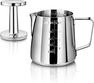 New Star Foodservice 28829 Commercial Grade Stainless Steel 18/8 12 oz Frothing Pitcher and Die Cast Aluminum Tamper Combo...