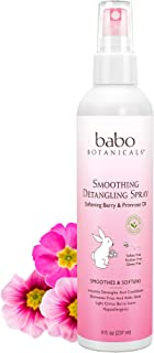 Babo Botanicals Smoothing Detangling Spray with Natural Berry and Evening Primrose Oil, Hypoallergenic, Veg...