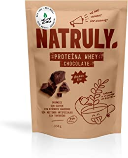 Proteína Whey Chocolate NATRULY 70% Proteína de Suero de Leche de Vacas de Pastoreo Sin Azúcar, 100% Natural, Sin Gluten –...