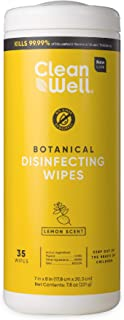 CleanWell Botanical Disinfecting Wipes, Lemon, 35 Count (1 PK) - Bleach Free, Antibacterial, Kid/Pet Friendly, Plant-Based...