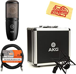 AKG P220 High-Performance Vocal Condenser Microphone Bundle with XLR Cable and Austin Bazaar Polishing Cloth