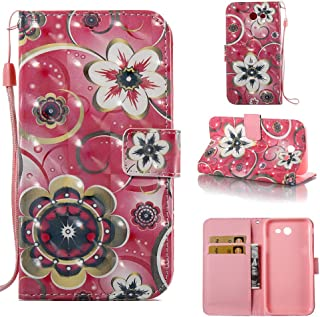 Galaxy J7 V Case/J7 Perx/J7 Sky Pro/J7 Prime/J7 2017 Case, Voanice Luxury PU Leather Wallet Flip Protective Women Girls Cover with Card Slots and Stand for Samsung Galaxy J7 Halo &Stylus-Pink Flower