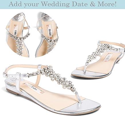 "a56e97d7eaf Flat Wedding Shoes -""Patent-Pending"" personalization - Silver wedding  sandal - Style"