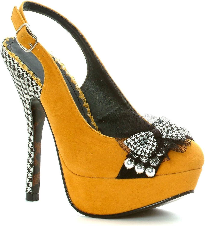 Ellie BP556-CAROLINE 5  Heel Close Toe Pump Women's Sandal, Yellow, 5 Size