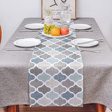 Moroccan Table Runner-Cotton linen-Small 36 inche Geometric Quatrefoil Lattice Dresser Scarves,Kitchen Coffee/Dining Farmhous