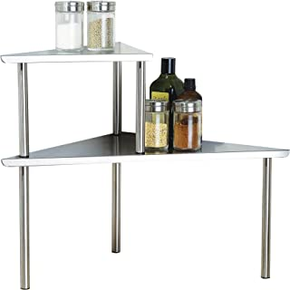 Cook N Home 2-Tier Stainless Steel Corner Storage Shelf Organizer, Triangle, Triangle Stainless Steel