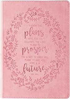 Christian Art Gifts Pink Faux Leather Journal | I Know The Plans Jeremiah 29:11 Bible Verse | Slim Line Flexcover Inspirational Notebook w/Ribbon Marker, 240 Lined Pages, 6 x 8.5 x .8 Inches
