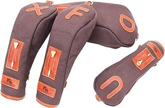 K& HC-TEE-PICT ヘッドカバーセット バケッタレザー (fieno) × 帆布 (チョコ色) レザー×キャンバス