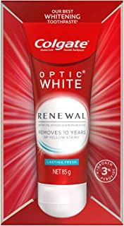 Colgate Optic White Renewal Teeth Whitening Toothpaste 85g, Lasting Fresh, Enamel Safe, with 3% Hydrogen Peroxide