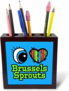 """3dRose ph_105904_1 5-Inch""""Bright Eye Heart I Love Brussels Sprouts"""" Tile Pen Holder"""
