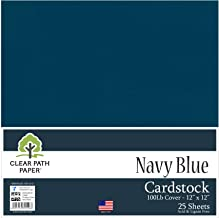 Navy Blue Cardstock - 12 x 12 inch - 100Lb Cover - 25 Sheets - Clear Path Paper