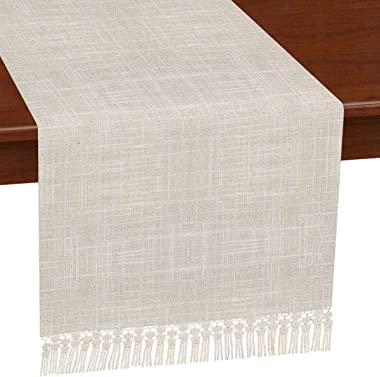 Grelucgo Solid Natural Color Lined Fringe Table Runner or Dresser Scarf (Natural, 14 x 60 inches)
