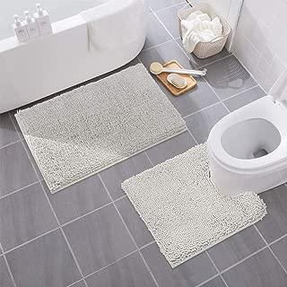 MAYSHINE Bathroom Rug Toilet Sets and Shaggy Non Slip Machine Washable Soft Microfiber Bath Contour mat (Light Gray,32