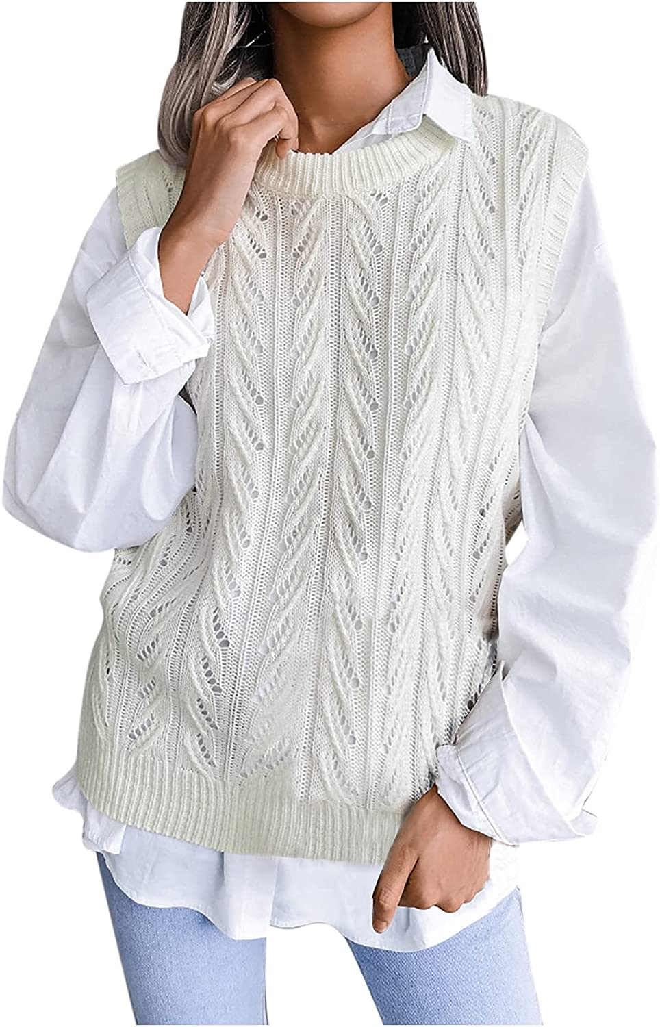 GUIH Women's Solid Color Round Neck Hollow Casual Knitted Fir Fashion Vest Sweater Vest