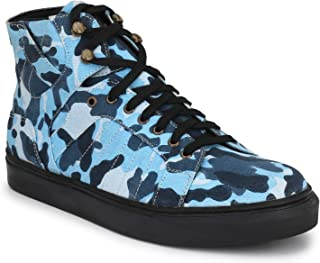 Shences Mens Blue Canvas Army Print Sneaker Boot (Colour- Blue