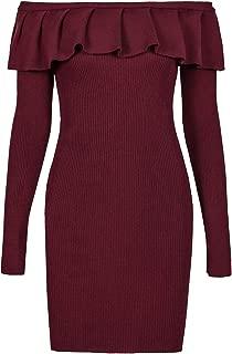 Best burgundy off the shoulder sweater dress Reviews