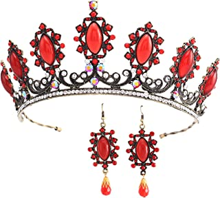 Stuffwhoesale Vintage Oval Ruby Crown with Drop Earring Jewelry Set