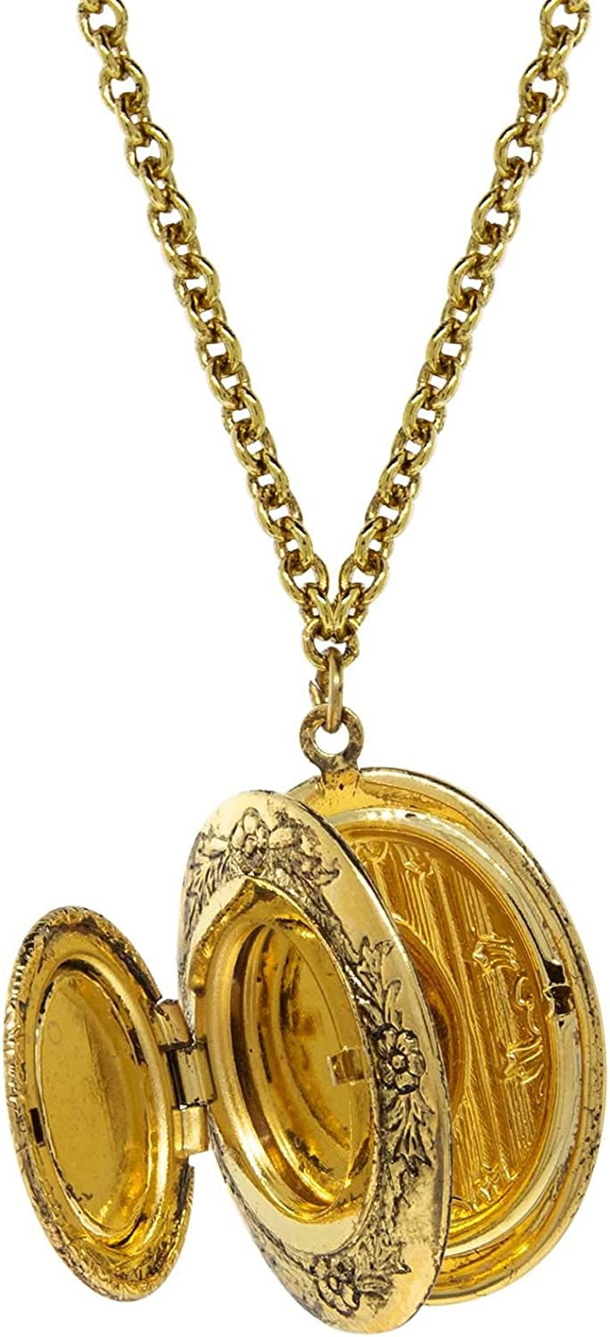 1928 Jewelry Gold Tone Carnelian Oval Cameo Double Locket Necklace 28 Inch Long