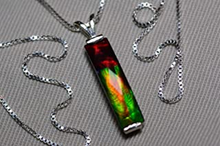 Ammolite Necklace, Sterling Silver, 20x5mm Pendant, Alberta Canada Gem Jewelry, Wood Gift Box, Real Natural Genuine Ammolite Jewellery T50