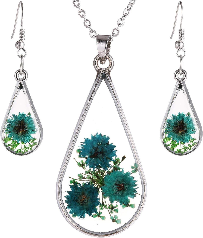 FM FM42 Red Turquoise Pressed Flowers Teardrop Drop Dangle Earrings Pendant Necklace Jewelry Set, 2 Colors