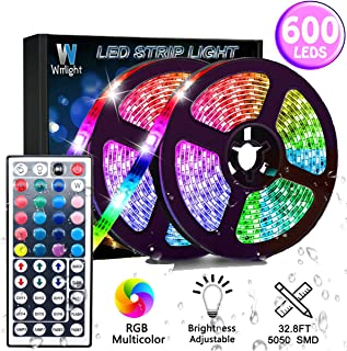 Led Strip Lights 32.8FT/10M 600LEDs Non-Waterproof Flexible Color Changing RGB SMD 3528 LED Strip Light Kit with 44 Keys IR Remote Controller and 12V Power Supply
