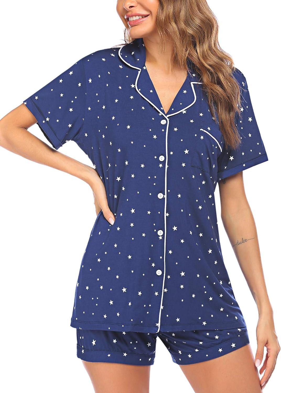 ADOMEWomen's Pajama SetShort Sleeve SleepwearButton DownNightwear 2 PiecePjs Top and Shorts