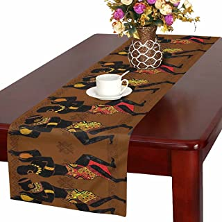 InterestPrint Dancing Aborigine African Men Tribal Ethnic Style Table Runner Linen & Cotton Cloth Placemat Home Decor for Kitchen Dining Wedding Party 16 x 72 Inches